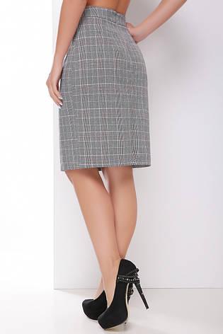 Женская офисная прямая юбка на талию до колен серая в бордовую клетку, фото 2