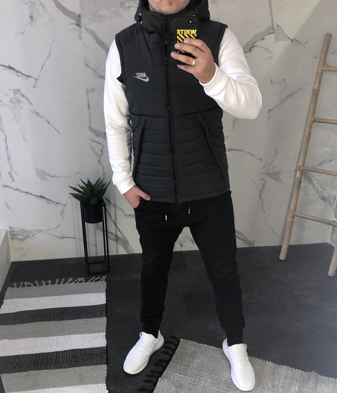 208ab78f Мужская черная теплая жилетка Nike найк жилет - Интернет-магазин одежды и  аксессуаров в Киеве