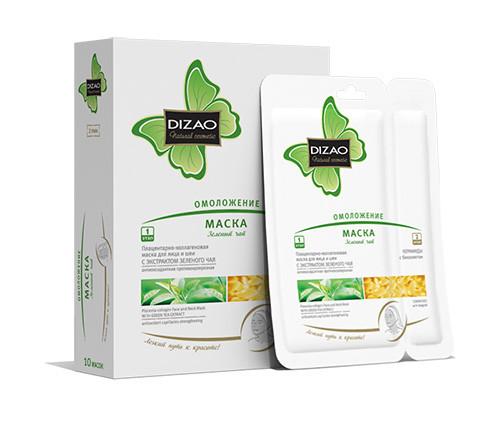 Dizao маска для лица и шеи  Зеленый чай омолаживающая