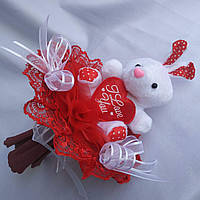 Мини -букетик с белым зайчиком с сердцем «I love you».