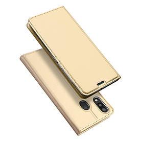 Чехол книжка для Samsung Galaxy M20 M205FD боковой с отсеком для визиток, DUX DUCIS, золотистый