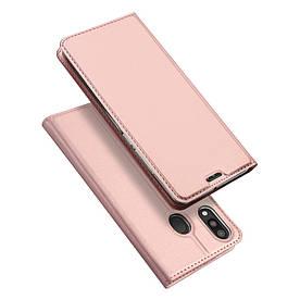 Чехол книжка для Samsung Galaxy M20 M205FD боковой с отсеком для визиток, DUX DUCIS, золотисто-розовый