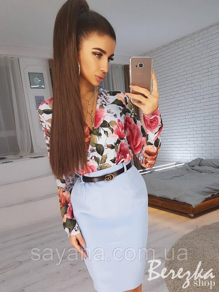 Женский костюм: блуза с разным принтом и юбка в расцветках. СФ-23-0319