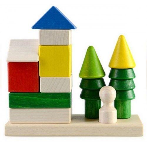 Пирамидка-конструктор из дерева «Загородный дом» Ду-24