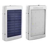 Power Bank SAMSUNG 10000mAh 2USB(1A+2A) с солнечной батареей, индикатор заряда, фонарик 20SMD, ультрафиолет -143 (5000mAh)