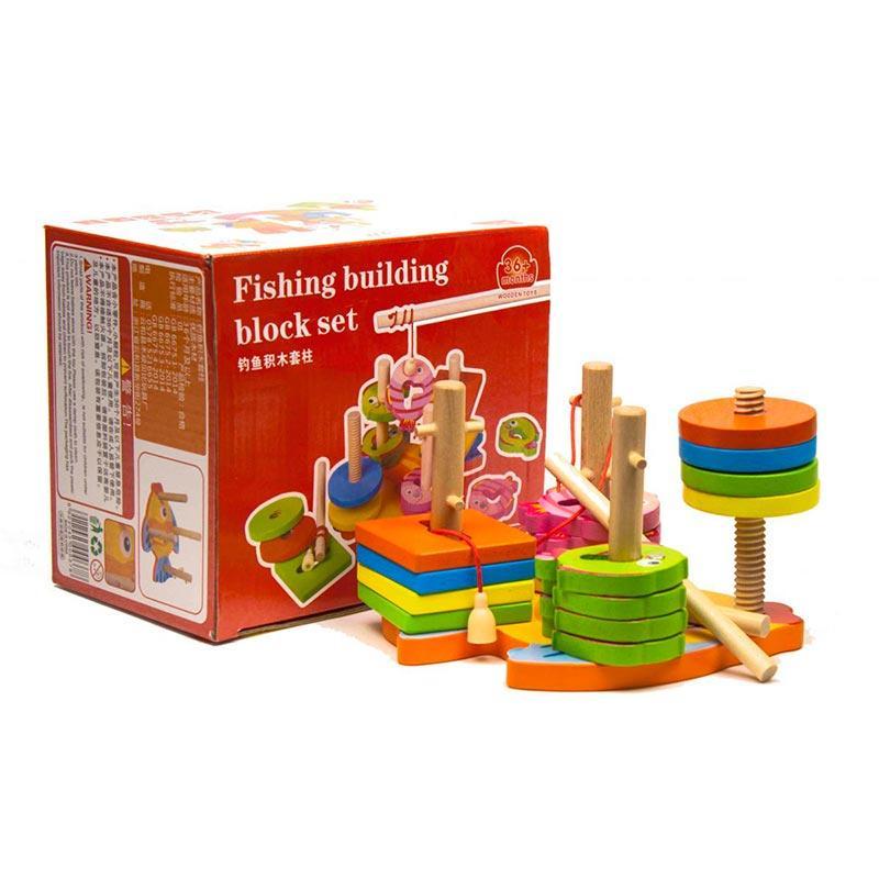 Деревянная игра «Пирамидка-логика + Магнитная рыбалка» Д019у-1