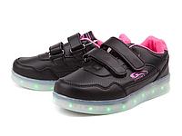"""Кроссовки черные со светящейся подошвой """"Bessky"""" 11 режимов подсветки, USB зарядка Размеры 32- 37"""