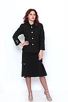 Жакет женский чёрный с укороченным рукавом , с вышивкой  615-07 на пуговицах.
