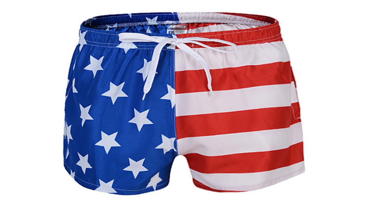 Купальные мужские шорты в расцветку американского флага опт