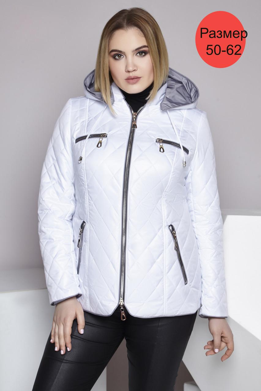 / Размер 50-62 / Женская демисезонная короткая куртка из плащевой ткани 221 / цвет белый