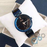 Женские часы Dior (Диор черные с синим) в Коробке ДИЗАЙНЕРСКИЕ! Жіночий годинник,  копия Гарантия
