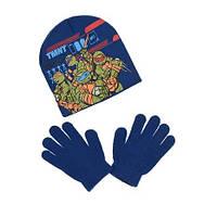 Шапка и перчатки для мальчика синие