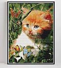 Алмазная вышивка рыжий котенок 20х25 см, полная выкладка, квадратные стразы, фото 2