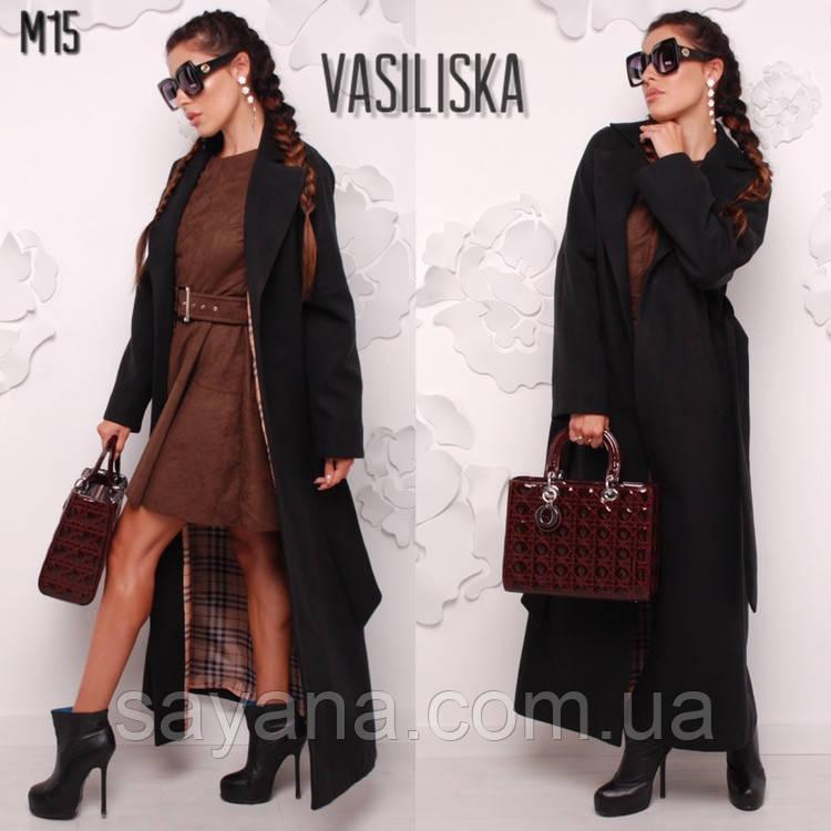 Жіноче довге пальто з підкладкою в кольорах. ВВ-1-0319