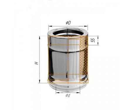 Двустенная дымоходная сендвич труба с утеплением нерж/нерж L=0,3м диам.
