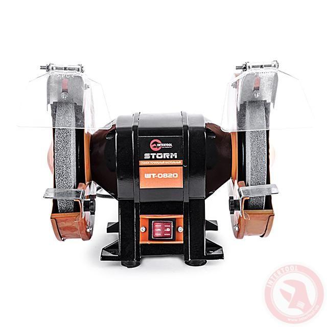 Верстат точильний настільний STORM 400 Вт, 0-2950 об/хв, шліфкруг 200 мм. INTERTOOL WT-0820