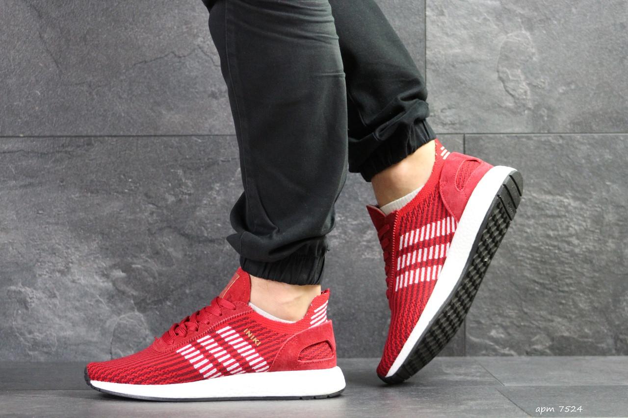 Мужские кроссовки Adidas Iniki,сетка,красные