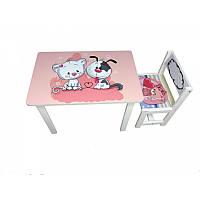 Детский столик и стульчика кот и собачка ( BSM1-10)