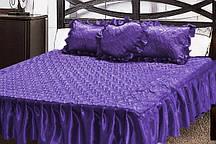 Атласне покривало з декоративною подушкою Серце