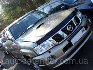 Дефлектор капота (Люкс!) мухобойка Nissan Patrol Y61 2004-2010, SIM, SNIPATR0412