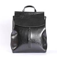 """Женский кожаный рюкзак-сумка (трансформер) """"Алиса Black"""", формат А4"""