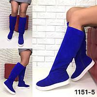Сапоги женские спортивные -  натуральная итальянская замша /женская обувь/ 1151-5                 , фото 1