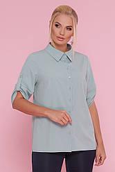 Стильная офисная легкая блузка-рубашка свободного кроя большие размеры Лана-Б к/р оливковая