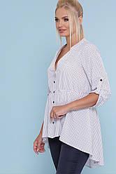 Летняя удлиненная белая блузка в горошек с резинкой на талии Санди-Б 3/4 большие размеры