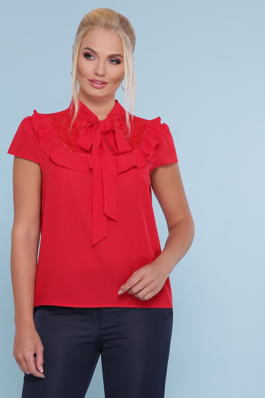 Красная блузка с кружевом и бантом на шее короткий рукав Федерика-Б к/р большие размеры