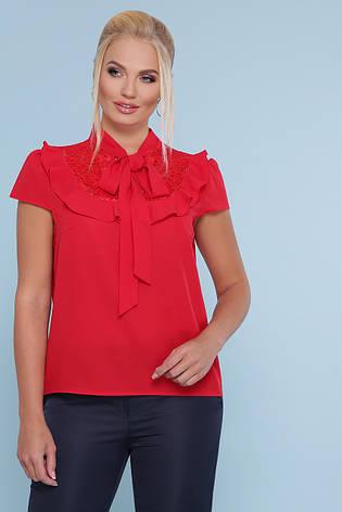 Красная блузка с кружевом и бантом на шее короткий рукав Федерика-Б к/р большие размеры, фото 2