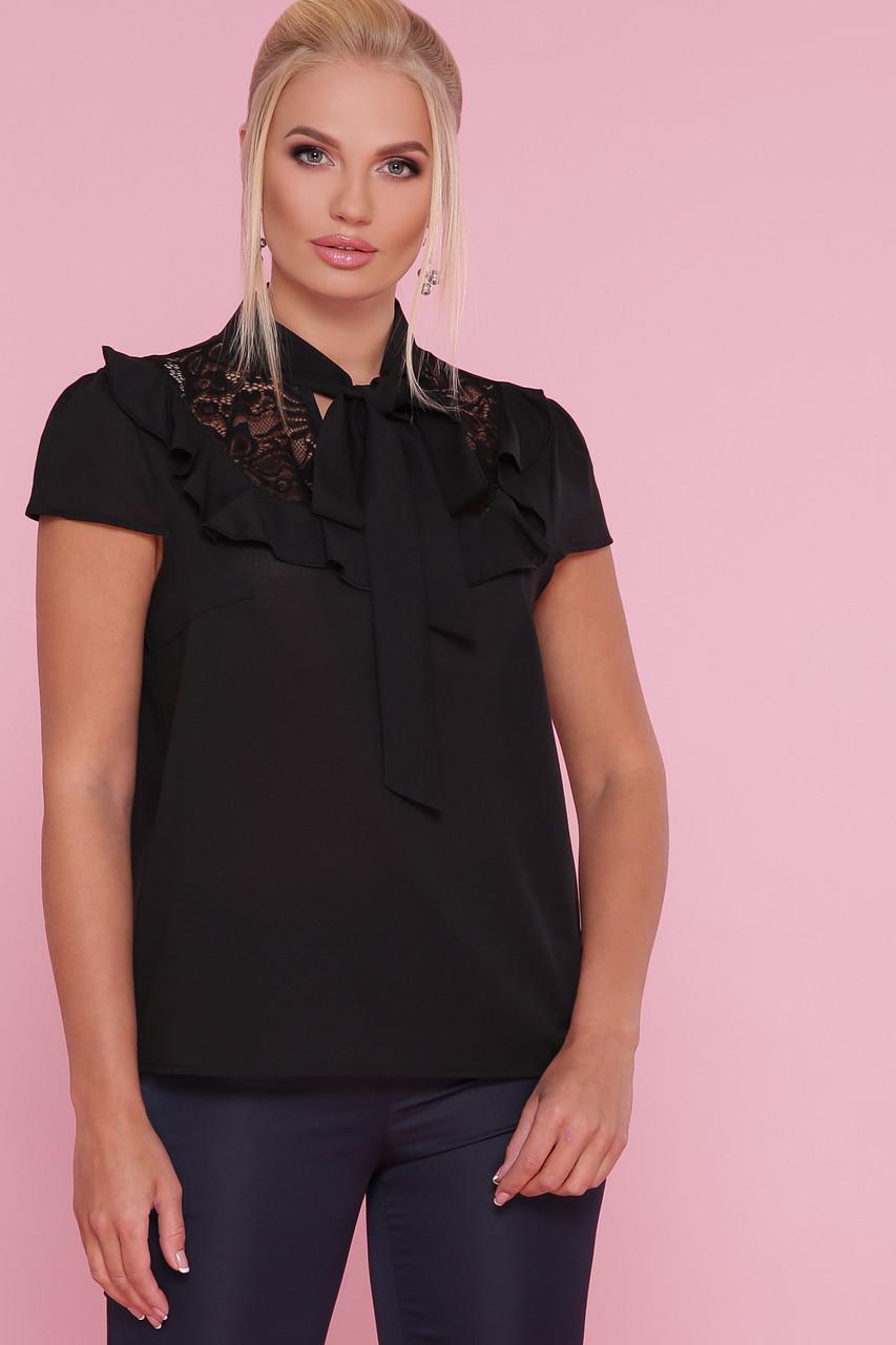 Чорна нарядна блузка літня з гіпюром і бантом на шиї Федеріка-Б к/р більші розміри