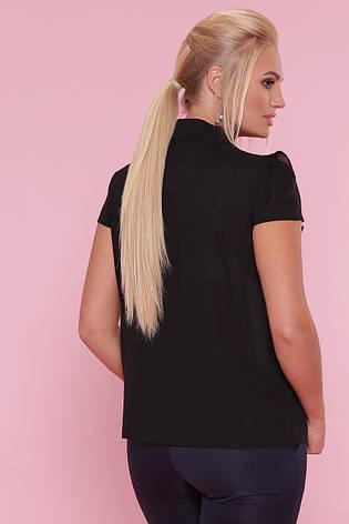 Чорна нарядна блузка літня з гіпюром і бантом на шиї Федеріка-Б к/р більші розміри, фото 2