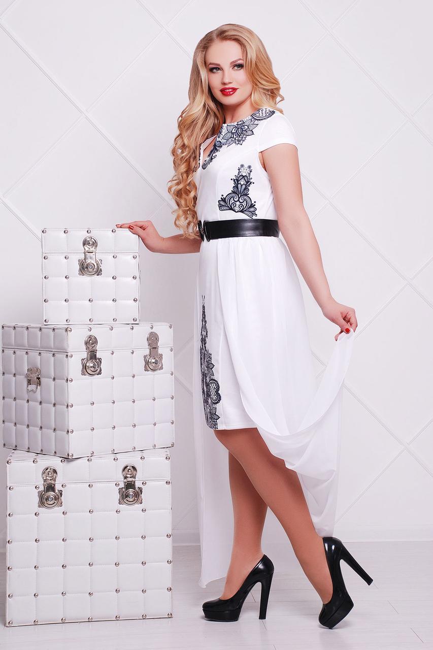 6c5f4260a7f Нарядное белое платье большого размера со съемной юбкой узор Кружево черное  Аркадия-Б б р
