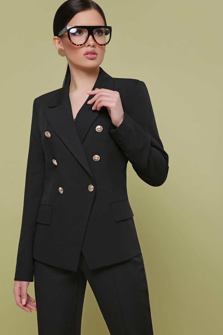 3422bbe76e6b262 Стильный женский двубортный деловой пиджак с декоративными пуговицами Остин  черный -