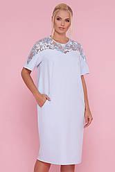 Ошатне вільний пряме плаття з вишивкою-паєтками зверху великі розміри Адель-Б к/р блакитне