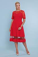 Красивое приталенное платье миди с ажурной сеткой большие размеры Аида-Б к/р красное
