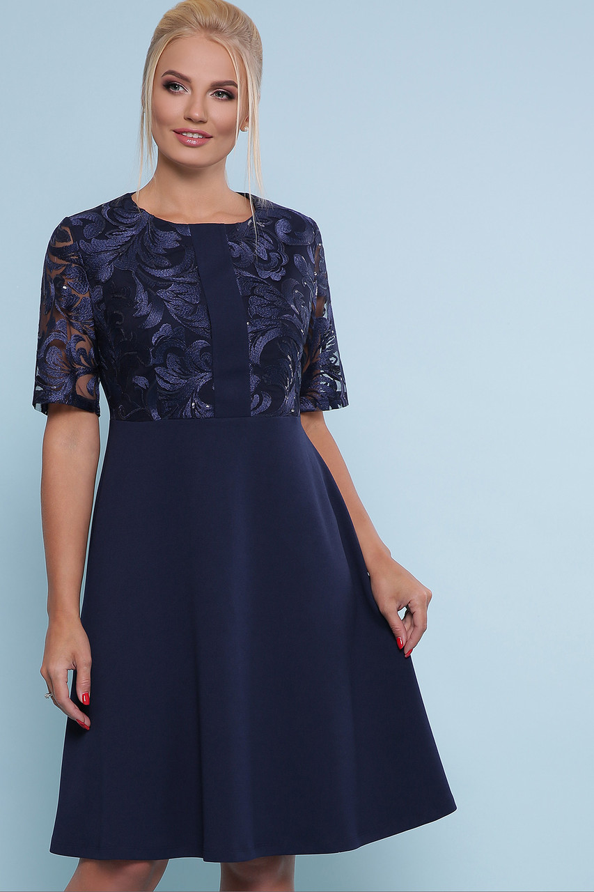 a2d2b3f8acf2907 Вечернее платье с расклешенной юбкой до колен вышивкой на сетке и пайетками  большие размеры Герда-