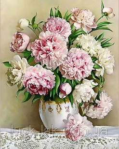 Алмазная вышивка, ваза с нежными пионами 30х40 см, частичная выкладка НА ПОДРАМНИКЕ 24х34 см
