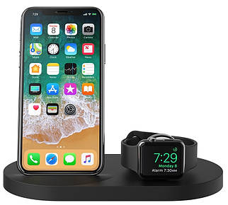 Док-станция BELKIN Qi Wireless iWatch( 1A) + iPhone (7.5W) + USB A 5W/1A , Bk