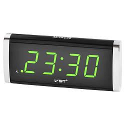 Часы сетевые 730-2 зеленые, 220W