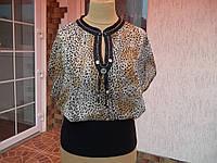 (46р) Тигровая блузка кофта свитер рубашка футболка туника (крепдешин) НОВАЯ Турция
