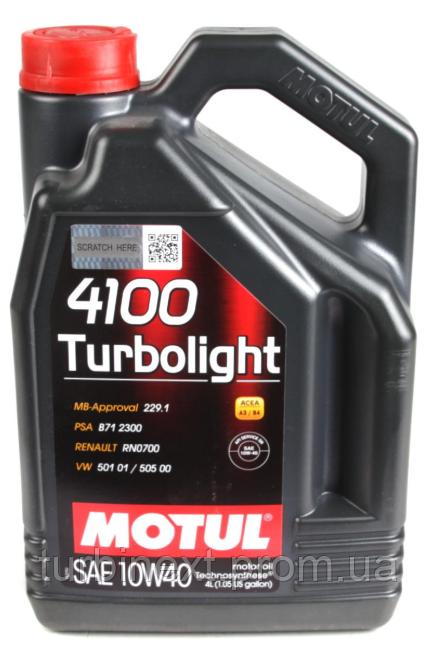 Масло 10W40 Turbolight 4100 (4L) (VW 501.01/505.00/MB 229.3/RN 0700/PSA B71 2300) (100355) MOTUL 387607