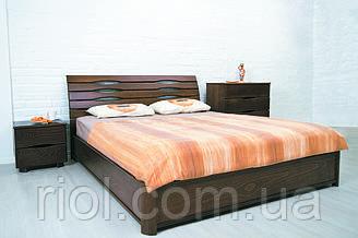 Двоспальне ліжко з бука Маріта N з підйомним механізмом ТМ Олімп