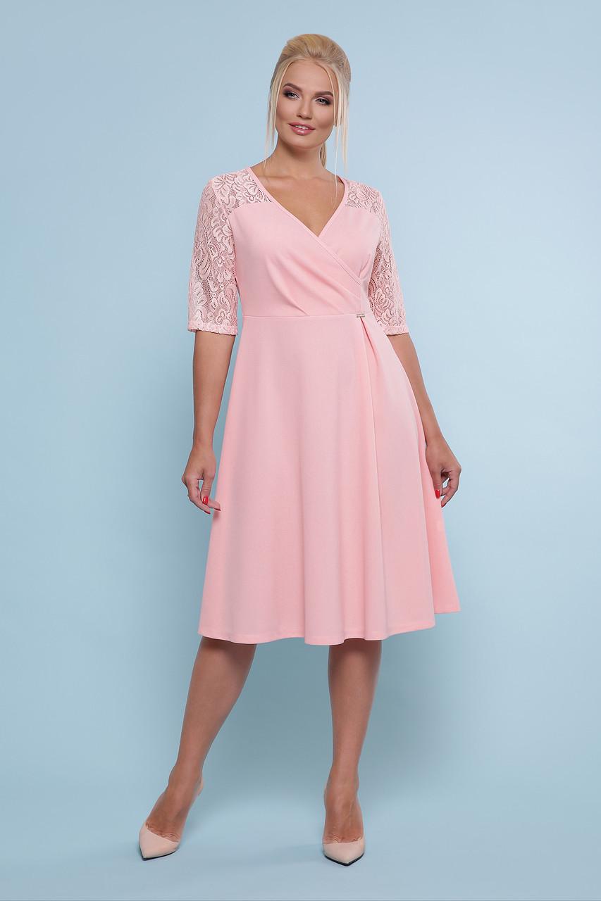 b1cb8085fe9 Персиковое платье миди с расклешенной юбкой и гипюровыми рукавами Ида-Б к р  большие