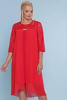 Красное вечернее прямое платье с шифоновым шлейфом и гипюром большие размеры Муза-Б 3/4