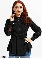 1a02b49fbc0 Женская блузка с кружевом черного цвета. Модель 20948. Размеры 42-46