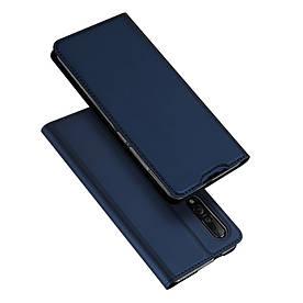 Чехол книжка для Xiaomi Mi 9 боковой с отсеком для визиток, DUX DUCIS, темно-синий