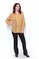 Блуза  женская золотистая в полоску,3902700 , на пуговицах, с длинным рукавом, размер 52-60