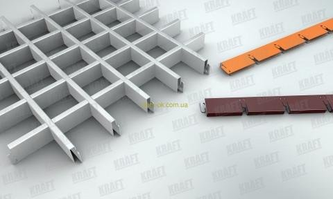 Потолок Грильято стандарт ячейка 100х100 мм, цвет черный/серый RAL 9005/9006, фото 1
