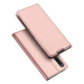 Чехол книжка для Xiaomi Mi 9 боковой с отсеком для визиток, DUX DUCIS, золотисто-розовый